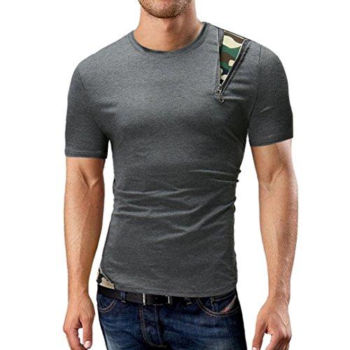 GreatestPAK Solid Color T-Shirt Herren Kurzarm Top Rundhalsausschnitt,Dunkelgrau,M