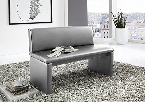 SAM® Esszimmer Sitzbank Family Hilton, in hellgrau, Sitzbank mit Rückenlehne aus Samolux®-Bezug, angenehmer Sitzkomfort, freistehende Bank, 140 cm