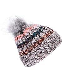 b2632dbf18c3 IBLUELOVER Gorro para Mujer Invierno Gorro Beanie Gorros de esquí de Punto  con pompón de Pelo