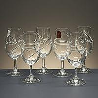 """la galaica Juego de 6 copas de cristal catavinos, talladas a mano, colección 40336"""", 16 cm. de altura."""