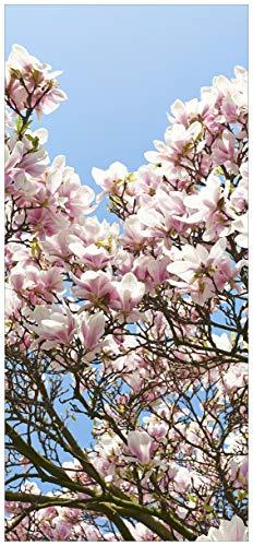 nde Türtapete Schöne rosa Magnolien-Blüten vor blauem Himmel - 100 x 220 cm in Premium-Qualität: Abwischbar, Brillante Farben, rückstandsfrei zu entfernen ()