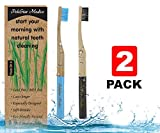 Bamboo Toothbrushes Medium Soft Bristles With Charcoal Infused by PoleStar Medico -Family 4-Pack Zero Waste Packaging And Eco Friendly Bamboo Toothbrush -Natural Vegan BPA Free Biodegradable And Natural Dental Care for Your Family (2 Pack, 2 Colors)