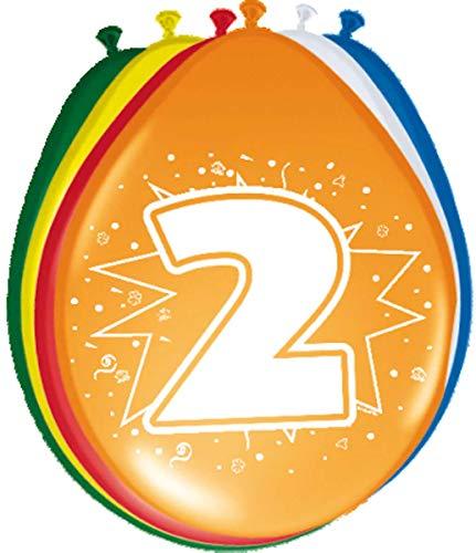 Folat 08202 2. Geburtstag Ballons-8 Stück, Mehrfarbig (Für Die Halloween-party-spiele Acht-jährigen)