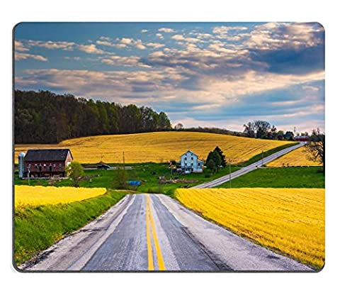 MSD Natural Rubber Mousepad IMAGE ID 34594088 Country road and view of farm fields and hills in rural York County