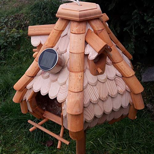 Großes Luxus Solar Licht Vogelhaus Holz Bunt Vogelfutterhaus Vogelhäuschen K32S LED (Braun / Weiß) - 3