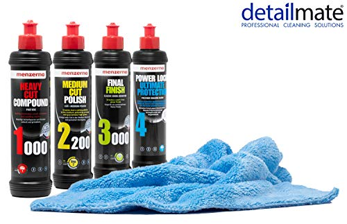 detailmate Auto Politur Set - Menzerna Autopolitur Super Heavy Cut Compund HC1000 + Medium Cut 2200 + Final Finish SF3000 + Power Lock Ultimate Protection - 250ml + Flauschiges Mikrofaser Poliertuch