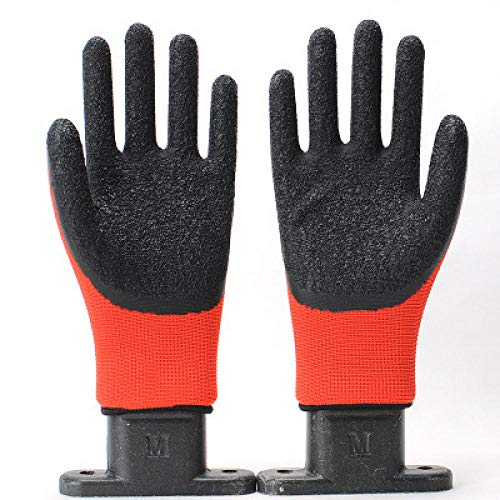 Womens Red Latex (Man and woman safety work gloves (12 pairs) red black latex wear protection Garden gloves, leather gloves, protective gloves,)