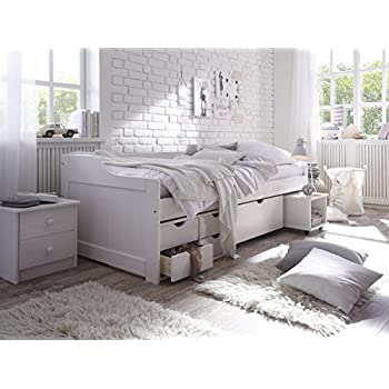 kinderbett funktionsbett 90x200 cravog wei lackiert massivholz holzbett bettkasten mit 5. Black Bedroom Furniture Sets. Home Design Ideas