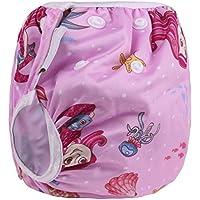 Sijueam Couche de bain bébé Lavable ajustable Maillot pour Piscine Natation Unisexe Imperméable Culotte Anti-fuite 0-24 mois/10-18 kg Rose Sirène
