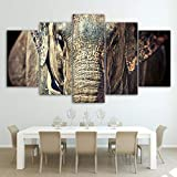 Canvas Painting 5 Piece HD Printed Elephant Close up face Trunk Ears Print Room Decor Print Poster Picture SJDBF