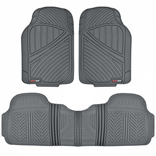 Preisvergleich Produktbild MotorTrend FlexTough Baseline - Heavy Duty Rubber Floor Mats, 100% Odorless & BPA Free (Gray) by Motor Trend