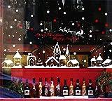 LCXYYY Fensterfolie Weihnachten Schneeflocken Fensterbilder Statisch Haftende PVC-Sticker Weihnachten Fensterdeko Aufkleber WandtattooFensteraufkleber Weihnachten City