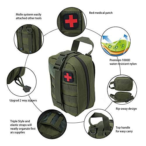 Outdoor Erste-Hilfe-Tasche Notfalltasche Medzinische Hilfe für Outdoor Aktivitäten wie Camping Radfahren Klettern Wandern ( Farbe : Grün ) - 5
