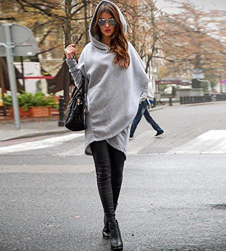 CoCo Fashion Damen Mantel Winter Kapuzenjacke Dünne Lange Mantel Jacke Trenchcoat Mantel Herbst Parka Outwear Stil 2_Hellgrau