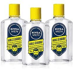 NIVEA MEN Huile à Barbe adoucissante (3 x 75 ml), soin barbe adoucissant et assouplissant à l'huile de Soja et racine de Bardane, kit entretien barbe longue