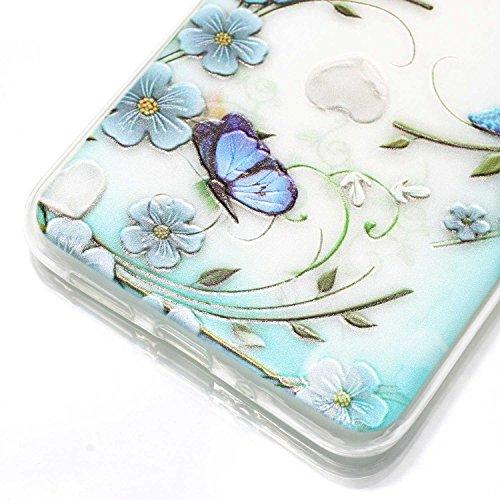 Huawei P10 Lite Custodia, Cover Huawei P10 Lite in Silicone TPU Transparente, JAWSEU Creativo Disegno Super Sottile Cristallo Chiaro Custodia per Huawei P10 Lite Corpeture Case Antiurto Anti-scratch S Fiore della farfalla blu