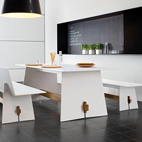 Conmoto Tension – Bank mit Rückenlehne 76 x 220 x 57 cm HPL weiss – Traverse aus Teak – ohne Auflage – Outdoorbank – Gartenbank - 2