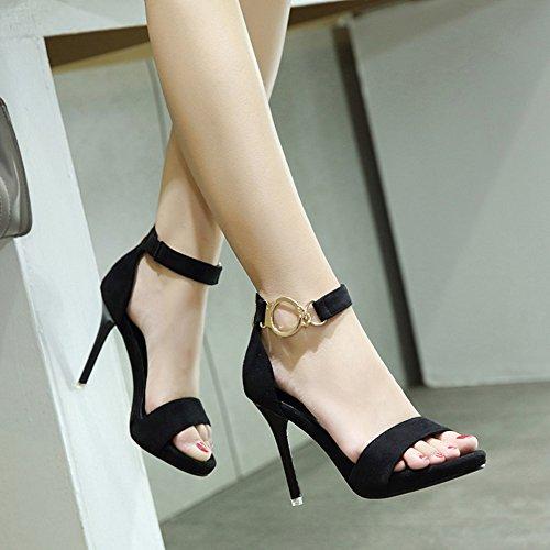 ... Aisun Damen Elegant Offene Zehen Metallic Ring Knöchelriemchen  Reißverschluss Stiletto Sandale Schwarz