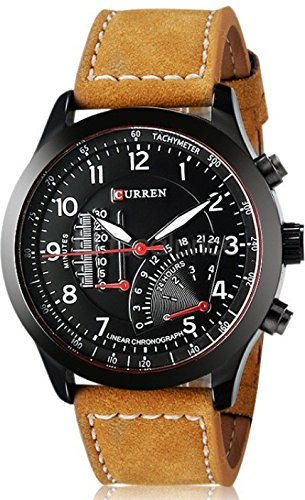 Curren Analogue Black Dial brown belt Men's Watch