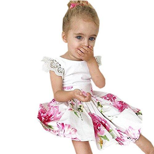 JUTOO Kinder Baby Mädchen Mode Blumendruck Spitze Prinzessin Kleid + Stirnband Set Kleidung Sommerkleid ()