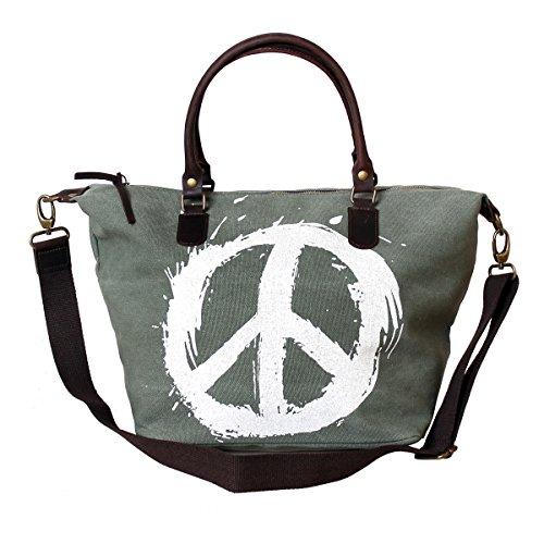 XL cuir Toile Sac Vert fabriqué en Italie Sac à main Peace