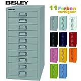 Bisley Schubladenschrank 29 aus Metall mit 10 Schubladen | Schrank für Büro, Werkstatt und Zuhause | Stahlschrank in 11 Farben (Lichtgrau)