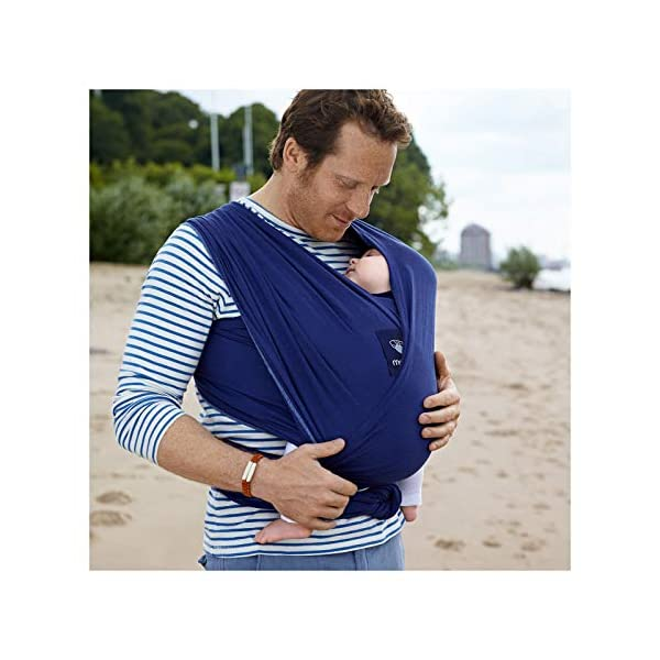 manduca Sling > Stretchy Baby Wrap & Baby Carrier < GOTS Organic Certified Cotton Baby Product, Suitable for Newborns & Infants from Birth up to 15kg (Royal/Blue, 5,10m x 0,60m) Manduca Baby sling in hip & trendy slub jersey. 100% organic cotton, soft, cosy & lightweight knitwear. Fancy effect yarns give the fabric its typical melange look. Stretchy yet stable for optimal fit and comfort: the bi-elastic knitwear wears as light as your favorite shirt, the perfect amount of stretch supports you and your baby without restricting Easy to tie thanks to colour contrasting seams & middle marker. Instructions for three carrying positions: pocket front carry pre-tied (for on the go & for men), wrap cross carry (optimal support) and hip seat/ hip wrap cross carry (with a twist) 3