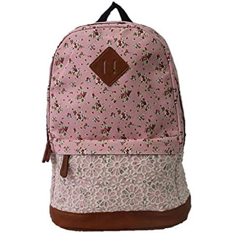 Tongshi Bolso de escuela unisex de moda mochila de lona (Rosado)