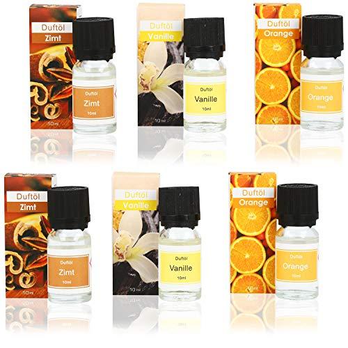 com-four® 6X Duftöl für Diffusor, Aromatherapie oder Wellness - duftende Öle für Duftlampen, Duftstövchen und tollen Raumduft