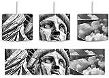 Monocrome, Majestätische Freiheitsstatue inkl. Lampenfassung E27, Lampe mit Motivdruck, tolle Deckenlampe, Hängelampe, Pendelleuchte - Durchmesser 30cm - Dekoration mit Licht ideal für Wohnzimmer, Kinderzimmer, Schlafzimmer
