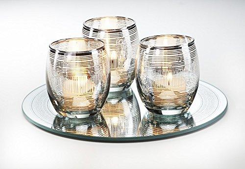 Windlichter-Set 4teilig B-WARE bestehend aus Dekoteller und 3 Windlichtern mit Silberstreifen Kerzenteller Teelichthalter Tischdeko Dekoschale mit Kerzenhalter