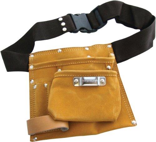 Am-Tech - Cintura portautensili in pelle, 6 tasche