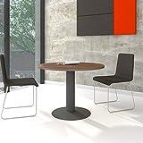 Weber Büro OPTIMA runder Besprechungstisch Ø 100 cm Nussbaum Anthrazites Gestell Tisch Esstisch
