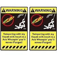 MagiDeal 2pcs Pegatinas de Advertencia Etiquetas Autoadhesiva para Kayak Canao Barco de Pesca Accesorio de Seguridad