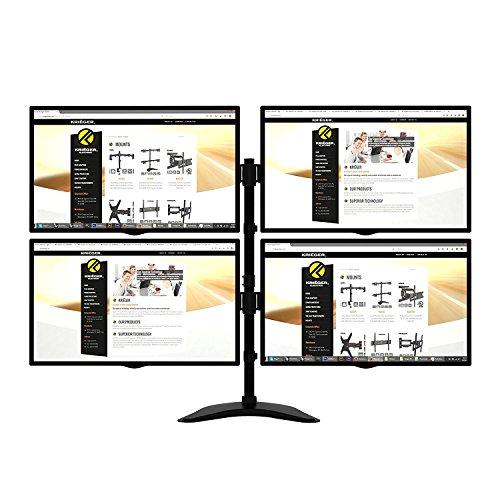 KRIEGER Kl4327 Quad Monitor Desk Stand Mount Full Motion Articulating Arm 4 Lcd, Oled, 4K Computer Displays, Fits 17, 19, 20, 22, 23, 24, 27 Inch, Fits Vesa 75 100, Swivel, Rotate, Tilt, Black