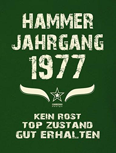 Geschenk zum 40. Geburtstag :-: Geschenkidee Herren Geburtstags-Sprüche-T-Shirt mit Jahreszahl :-: Hammer Jahrgang 1977 :-: Geburtstagsgeschenk Männer :-: Farbe: dunkelgrün Dunkelgrün