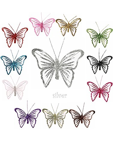 '® Nylon Schmetterling Dekoration mit Clip auf der Rückseite-Qualität Glitzer Schmetterlinge silber