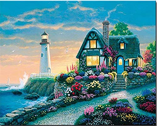 Suubboo Rahmenlose DIY Malen Nach Zahlen Kits Färbung Handgemalte Abstrakte Seaside Villa Leuchtturm Öl Bilder Wand Kunst Wohnkultur 40X50Cm