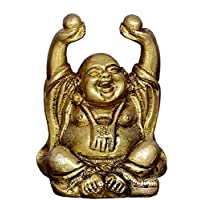 Purpledip Vintage Laughing Buddha Statue in Solid Brass Metal: Harbinger of Wisdom and Wealth - Use as Home Decor Showpiece for Feng-Shui, Golden Finish (10324)