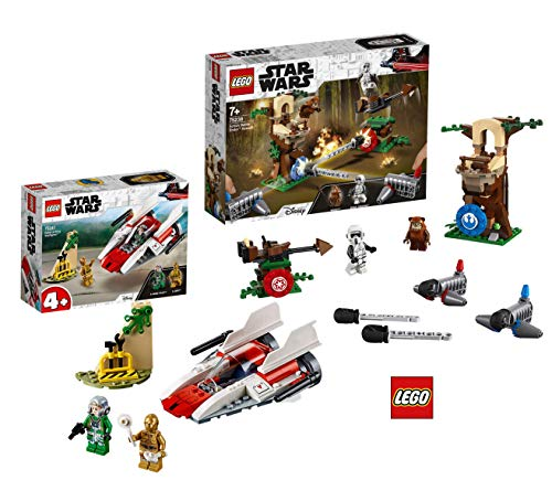 LEGO Star Wars 75238 - Action Battle Endor Attacke, Bauset Star Wars 75247 Rebel A-Wing Starfighter (Minifiguren Lego Ewok)