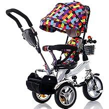 Bici per bambini Guo shop- Triciclo per bambini Triciclo per bambini 1-3-6 anni Bambini Pieghevole 3-Titanium Space-Wheel Passeggino Sedile girevole (Colore : Color c)