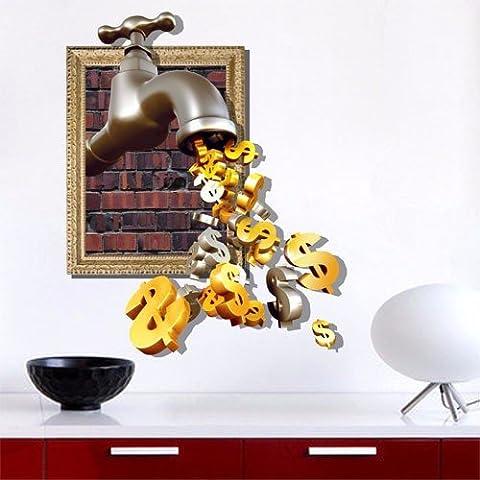 Dragon moneta in oro ) 3D( acqua sfondo parete camera da letto soggiorno divano TV HD sfondo auto carta adesiva