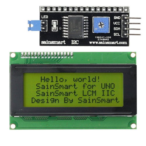 SainSmart IIC/I2C/TWI Serial 2004 20x4 LCD Module Shield Yellew Blacklight for Arduino UNO MEGA R3