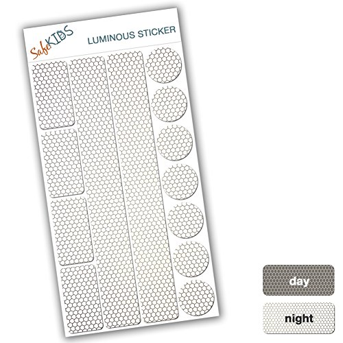 SafeKIDS luminous sticker, WHITE, 13 stickers for pushchairs, bicycle helmets and more 51ZgwDOllaL