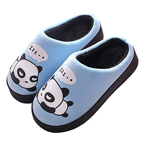 Gaatpot donne uomo warm cotone pantofole carine panda pantofole ragazzi ragazze interni antiscivolo pantofole scarpe di cotone slipper blu 39/40 eu = 40/41 cn