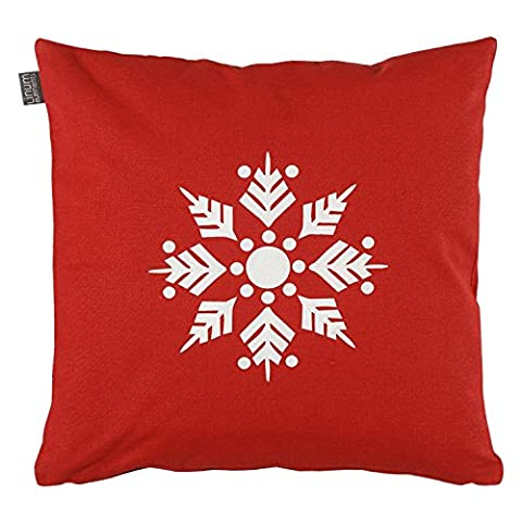Linum Flinga D02 Kissenhülle rot mit Schneeflocke, beidseitig,40cm x 40cm 100% Baumwolle mirt RV