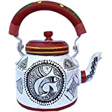 Diwali Decor Interior Modern Designed Unique Product Hand Painted Figurine Aluminum Decorative Tea Kettle Pot, Multicolor Tradition Meenakari, Jaipuri, Artician Painting Made By Hand, Ketali,Tea Pot/Kettle Art Home And Garden Kitchen And Dining Serve Ware