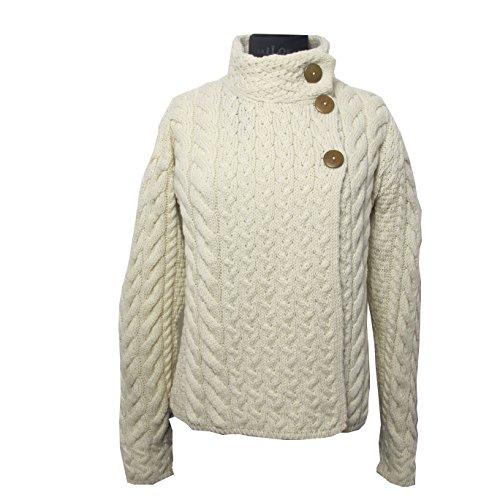 Irische Aran-damen-pullover (Irische Damen Wollpullover mit 3 Knopf-Verschluß (S))