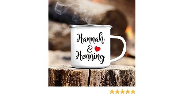 """Wandtattoo-Loft Campingbecher Emaille Kaffeetasse /""""Wir sind Freunde./"""" wei/ß Tasse Becher mit Motiv Spruchbecher Geschenk Tassenrand schwarz oder Silber//schwarzer Tassenrand"""