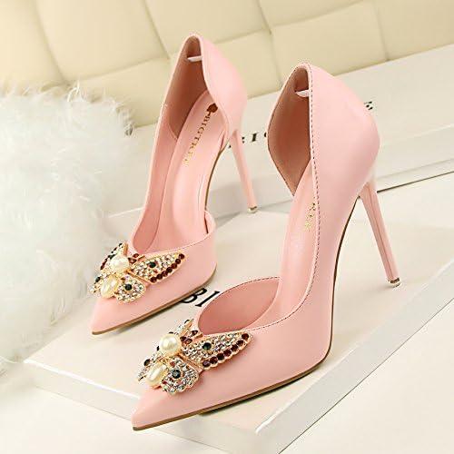 Xue Qiqi Bien, con tacón alto de la luz de la punta de la boquilla del lado expuesto de la pajarita solo zapatos...